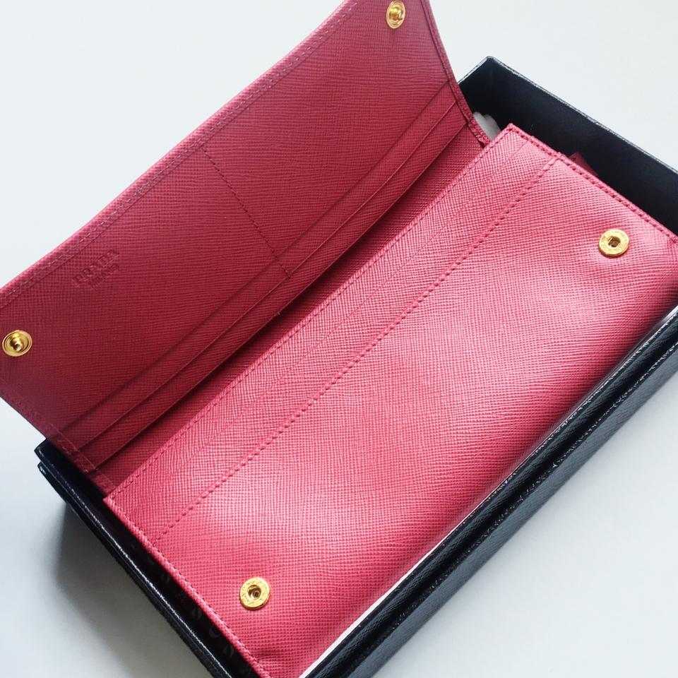 429d546227763e Prada Saffiano Leather Pink-Berry Long Wallet Bow Box Fiocco New Image 11.  123456789101112