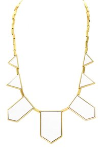 House of Harlow 1960 House of Harlow 1960 14K Yellow Gold Plated Geometric White Leather
