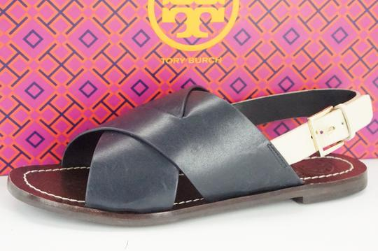 299fe33d6 ... Tory Burch Bi-color Buckle Slingback Strappy 7062303 Blue Sandals Image  1