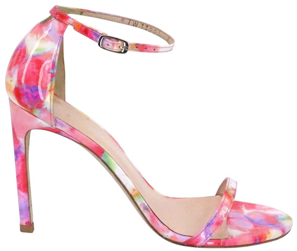 Stuart Weitzman Pink Strap Floral Patent Nudistsong Ankle Strap Pink Sandals a79849