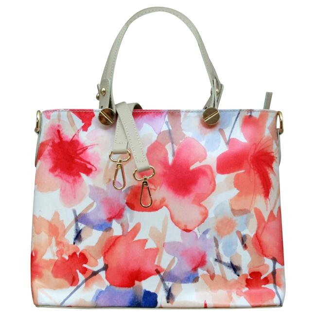 Item - Italian Leather Multicolor Flower Handbag. Made In Italy. Tote
