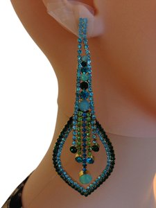 Large Bling Statement earrings in Turquoise & Green