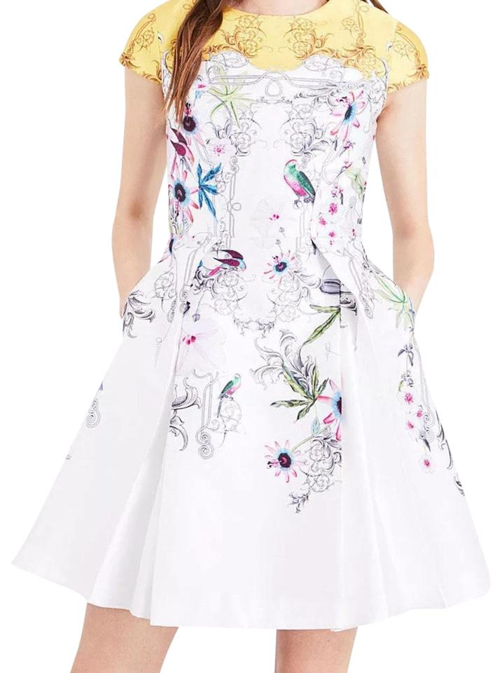Ted baker white yellow floral mid length cocktail dress size 4 s ted baker dress mightylinksfo