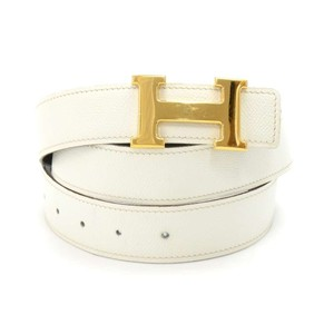 Hermès Hermes White and Black Reversible Gold Tone H Buckle Belt Size 90