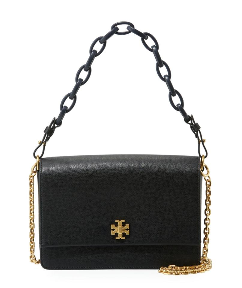d63eacf4ad203 Tory Burch Kira Double-strap Black Leather Shoulder Bag - Tradesy