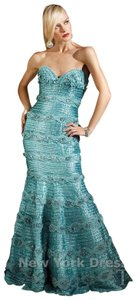 Terani Couture Crystal Beading Designer Gown Strapless Sweetheart Dress