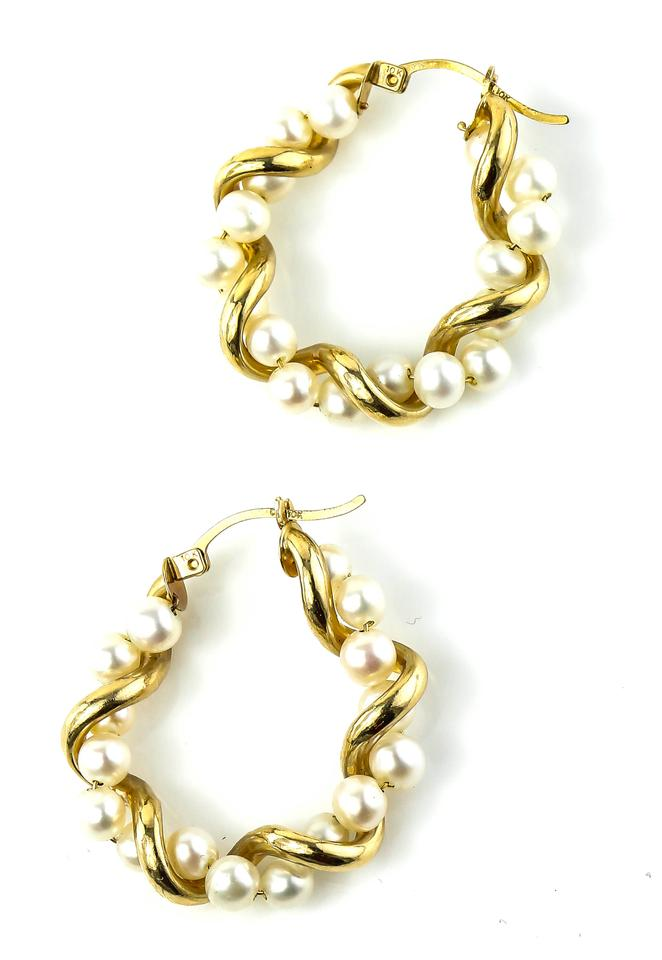tradesy i gold earrings white