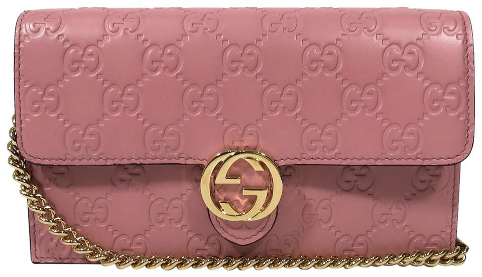 2ba62c9d134 Gucci 409340 Interlocking Wallet Mini Pink Leather Cross Body Bag ...