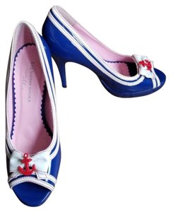 Ellie Shoes Anchor Nautical Costume Leg Avenue Heels Blue, White Pumps