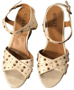 Guess Ivory with Gold Studs Wedges