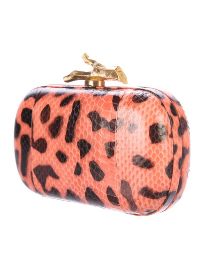 Diane von Furstenberg Dvf Lytton Minaudiere Leopard Orange Brown Clutch Image 1