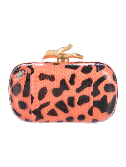 Diane von Furstenberg Dvf Lytton Minaudiere Leopard Orange Brown Clutch Image 2