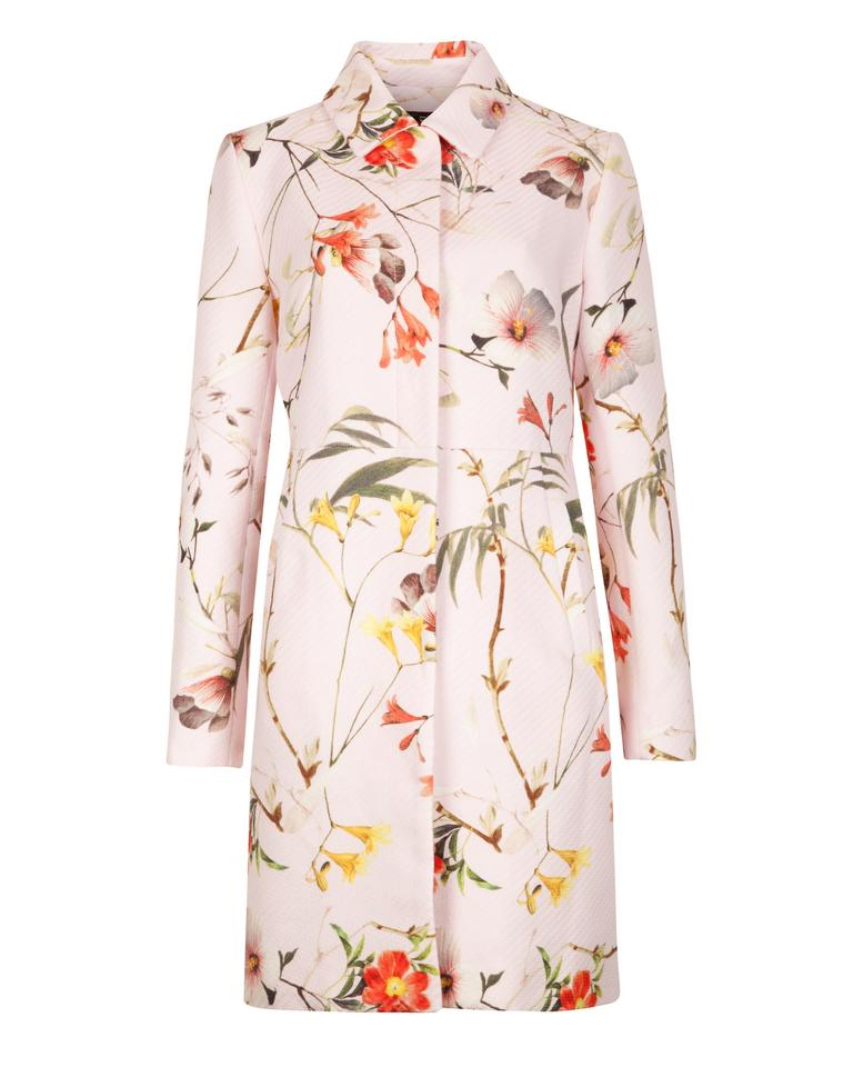 e411f14964 Ted Baker Pale Pink Botanical Bloom Printed Coat Size 8 (M) - Tradesy
