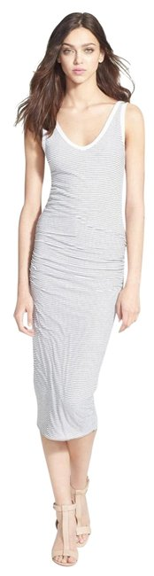 Item - White Black Skinny Ruched Sides Stretch Mid-length Casual Maxi Dress Size 2 (XS)