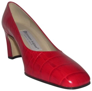 Etienne Aigner Dressy Or Casual New And Unworn Retro Look True Color 'valencia' Style red crocodile embossed leather Pumps