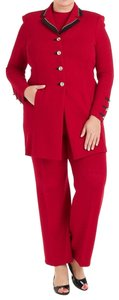 St. John St John Collection Red Knit Jacket, Tank & Pant Suit 2487-2328
