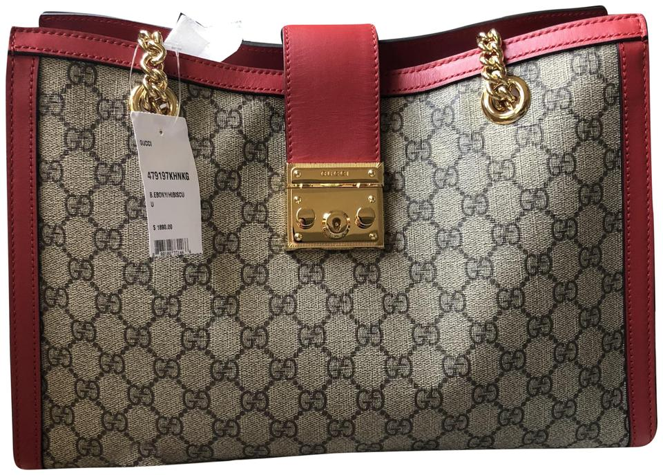 22d53783042c62 Gucci Padlock New Medium Gg Supreme Shoulder Red Beige Canvas Tote ...