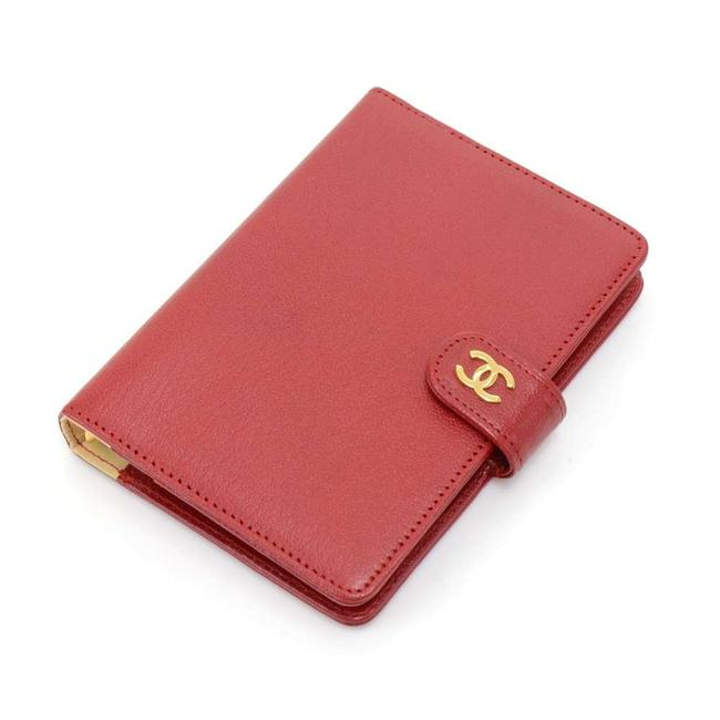 Item - Red Leather 6 Ring Gold-tone Agenda Cover Tech Accessory