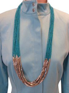Long Turquoise colored & silver hammered bead necklace, costume jewelry