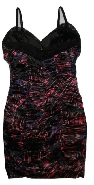 Guess Print Ruched Fitted Lace Dress