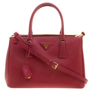 Prada Saffiano Lux Leather Double Zip Tote in Red