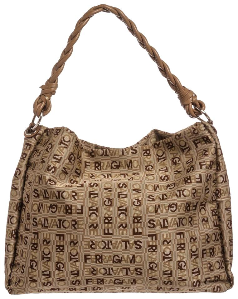 Salvatore Ferragamo Woven Trim Handbag Brown Canvas and . 41b95b09a6381