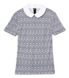 Tory Burch Spring Summer Peter Pan Collar Lady Vacation Top Navy blue & white