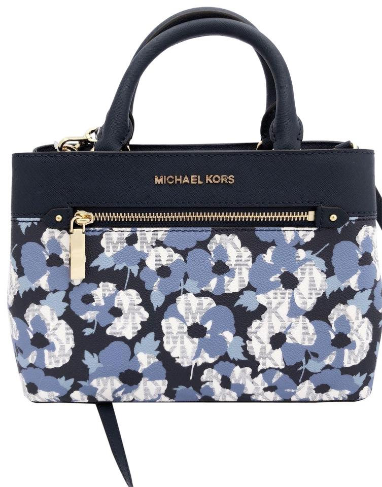 be065a38cd7b Michael Kors Hailee Kellen Small Crossbody Navy Blue Leather Satchel ...