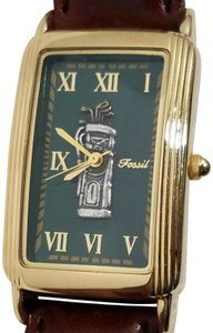Fossil Fossil Silver Golf Bag and Clubs Green Gold Square Dial Watch