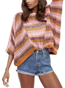 Free People Open Knit Cropped Variegated Stripes Drop Shoulders Boat Neck Sweater