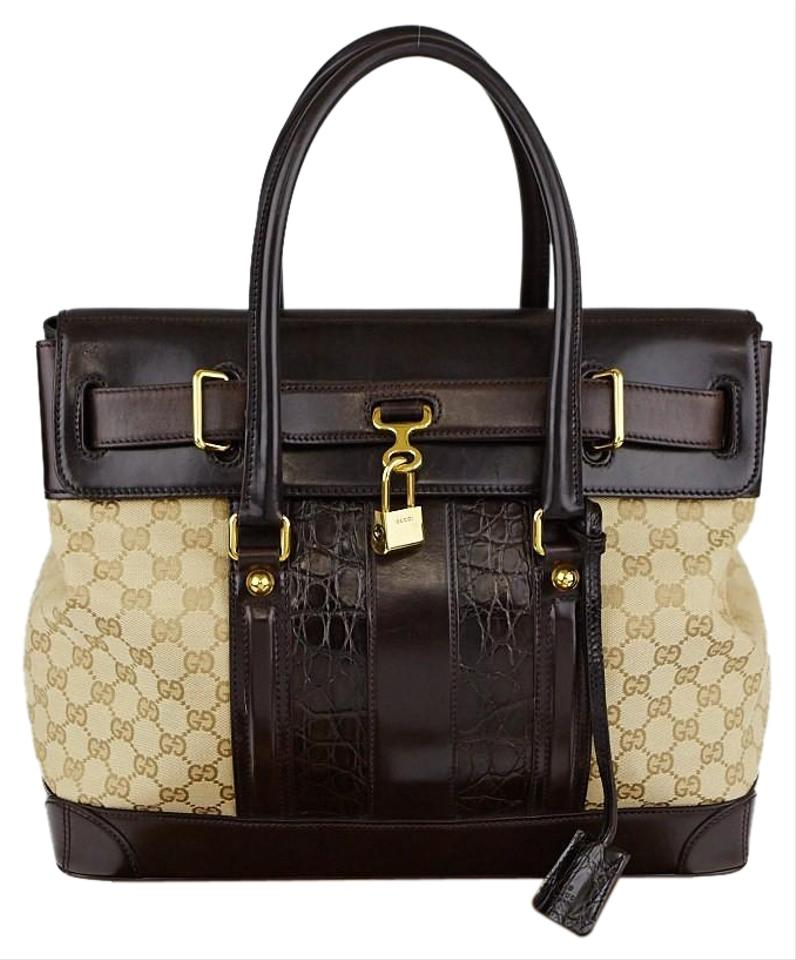 acc527dc9 Gucci Top Handle Bag Secret Medium Brown Crocodile Skin Leather Tote ...