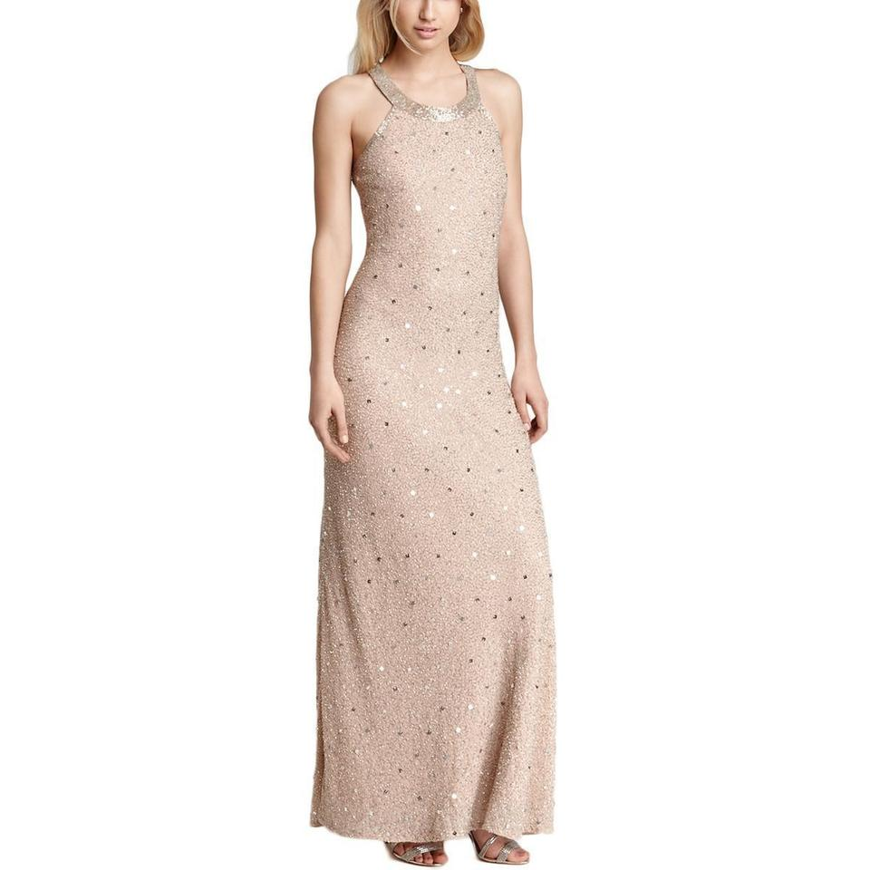 Adrianna Papell Pink Womens Chiffon Embellished Gown Long Formal ...