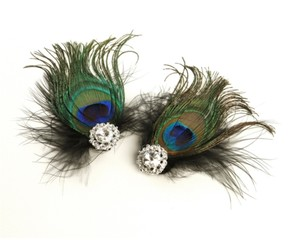 Mariell Black Peacock Feather & Marabou Shoe Clips with Crystal 3957sc
