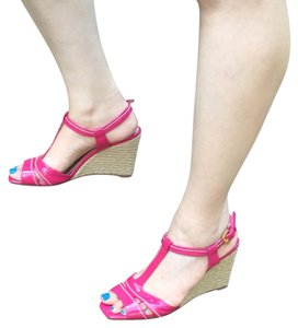 Prada Patent Leather Sandal Pink Wedges