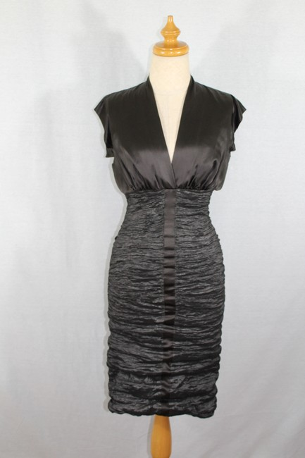 Nicole Miller Collection Chocolate and Metallic Dark Olive Style Bq0125 Mid-length Cocktail Dress Size Petite 2 (XS) Nicole Miller Collection Chocolate and Metallic Dark Olive Style Bq0125 Mid-length Cocktail Dress Size Petite 2 (XS) Image 2