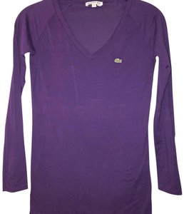 Lacoste V-neck Longsleeve Preppy Casual Classic T Shirt purple