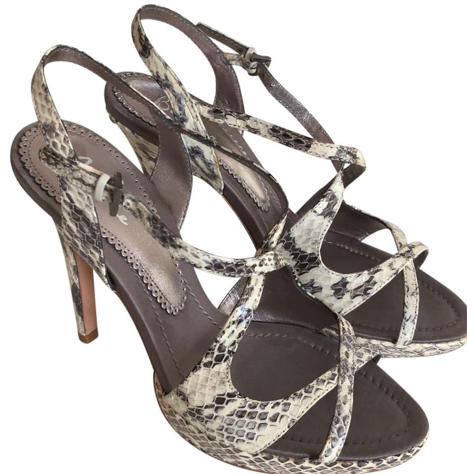 b320fe084 Bourne White and Gray Strappy Snake Print Sandals Size EU 38 (Approx ...