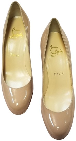 Christian Louboutin Nude Patent Leather Mid Heel Pumps Size Eu 355 Approx Us 55 -3877