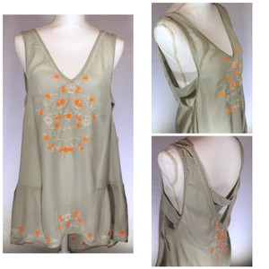 Free People Boho Festival Embroidered Floral Ruffle Top Gray Neon Orange White