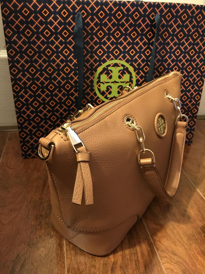 Leather Bark Satchel Slouchy Brown Tory Whipstitch Burch qARAO