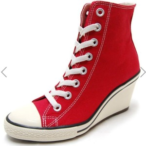 Converse Red All Star Hi Wedges Size US