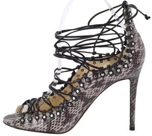 Jimmy Choo Stud Lace Up Open Toe Dove/Black/Silver Gray Sandals