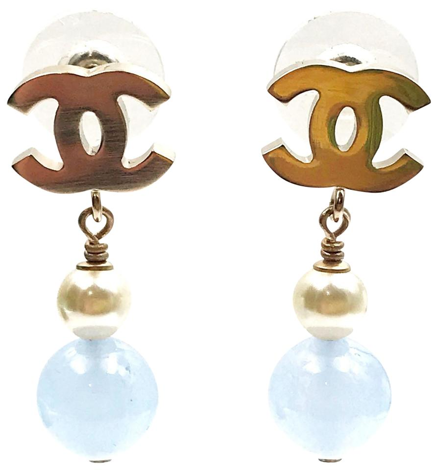 Chanel Brand New Gold Cc Faux Pearl Blue Stone Piercing Earrings