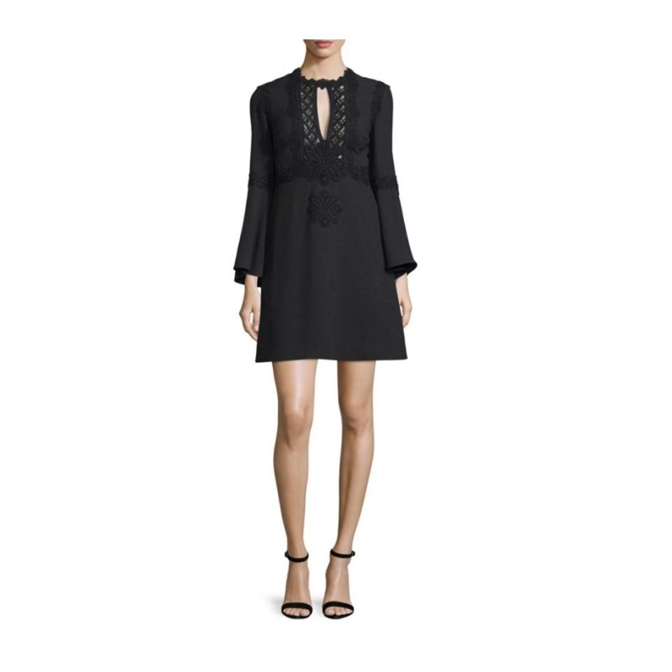 Elie Saab Black Embroidered Short Casual Dress Size 4 (S) - Tradesy