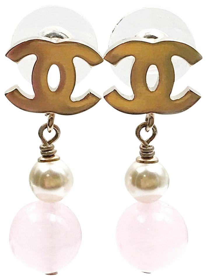 Chanel Brand New Gold Cc Faux Pearl Pink Stone Piercing Earrings