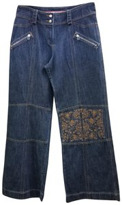 Oilily Boho Embroidered Vintage Trouser/Wide Leg Jeans-Dark Rinse