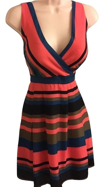 Item - Coral Blue Green Striped Nwot Short Casual Dress Size 12 (L)