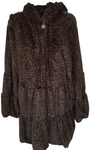 Dennis Basso Faux Animal Print Great For Traveling Hood Fur Coat
