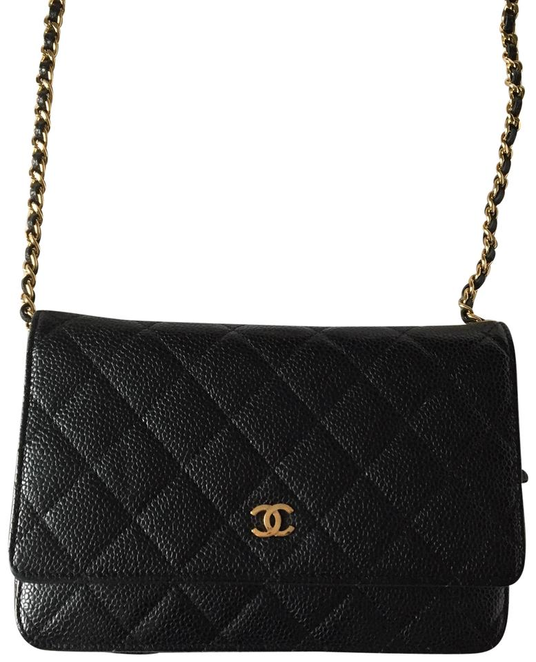 b8d0f61ddf3d Chanel Wallet on Chain Classic Leather Black Gold Caviar Cross Body ...