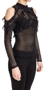 self-portrait Cut-out Off-the-shoulder Night Out Sheer Top Black